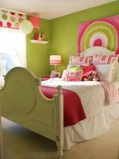 Bedroom: Vibrant Pink And Green Girls Bedroom. green and pink bedroom. girls room decor. simple drawing. classic style bed. dotted window shade. pink lamp shade.