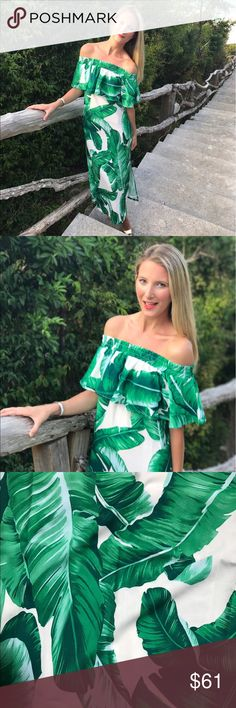 Palm Print Maxi You will be the envy of the island in this gorgeous off-the-shoulder palm print maxi! This season's most coveted print is finally here and can be yours! The green color with blue hues will make you glow as strut around the resort and all eyes will be on you. Featuring side slits for easy movement and elastic top that makes you feel so secure!  100% Polyester  size + fit: Model is 5ft 6in and wearing a size small. Dress runs true to size. Dresses Maxi
