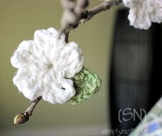 """Love the look on bare branches.  Short flower pattern on the page after you click.  Click """"Crocheted Leaves – for the Naked Branch"""" under the photo for the leaf pattern.  I use a vase of branches all year and decorate with Valentine hearts, shamrocks, eggs, etc. for holidays. Love this addition."""