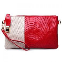 Graceful Color Block and Snake Print Design Women's Clutch Bag