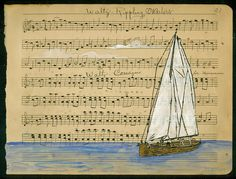 """by Amy Rice rippling waters    Gocco, Ink and Gouache on Antique Handwritten Sheet Music  10"""" x 8""""  http://www.flickr.com/photos/amy_rice/6078612878/in/photostream/"""