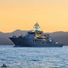 Brand new explorer yacht ULYSSES (107m) taken in Cannes. Ulysses was built in 2015 by Kleven  by @julien_hubert by yachtslife