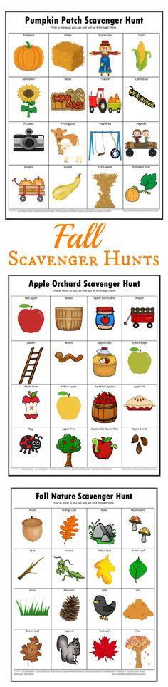 Free printable fall scavenger hunts . apple orchard | pumpkin patch | nature