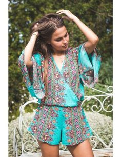 Turquoise Short Sleeve Jumpsuit    littlelotus.co.za Jumpsuit With Sleeves, Rompers, Dresses, Fashion, Turquoise, Vestidos, Moda, Fashion Styles, Romper