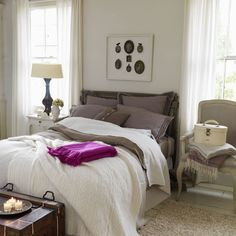 Love the chair as a nightstand, the trunk at the end of the bed and everything else!