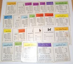 Lot of 26 Vintage Monopoly Property Cards for scrapbooking collage altered art crafts by scrapitsideways, $3.00