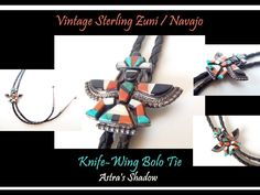 Twitter Tweets, Bolo Tie, Coral, Turquoise, Sterling Jewelry, Costume Jewelry, Vintage Jewelry, Wings, Handmade