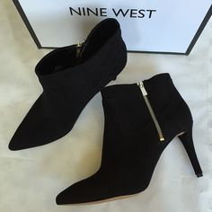 "Nine West NWB Pointy Toe Suede Booties classic and chic - NWB pointy toe black suede booties with gold colored zipper. leather upper with manmade sole and lining. size 9M. heel is approx. 3.5"". these are new with box and never worn - only tried on but please see last photo for very light discoloration on tan part of sole. Nine West Shoes Ankle Boots & Booties"
