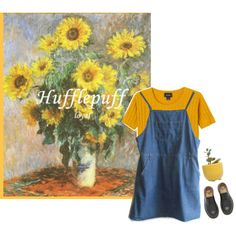 hufflepuff #2 by constellvtion on Polyvore featuring Monki, Dr. Martens, Dot…