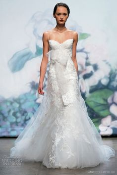 Monique Lhuillier dress - love the Moment horsehair sash with embroidered ends and Cherish brooch with crystal embroidery.