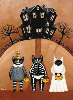Trick or Treaters Original Halloween Cat Folk Art Painting by KilkennycatArt