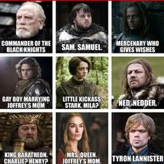 "The Names Of ""Game Of Thrones"" Characters According To Someone's Dad"