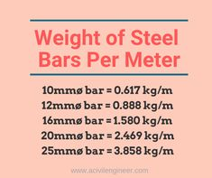 There is a formula to calculate the unit weight of steel bars. Let's see how we can use the formula to get the weight of different sizes of bars. Civil Engineering Handbook, Civil Engineering Works, Engineering Notes, Civil Engineering Construction, Power Engineering, Chemical Engineering, Electrical Engineering, Metric Conversion Chart, Mathematics Geometry
