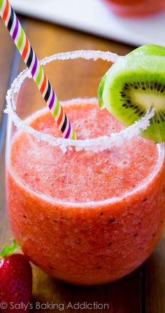 Love these simple frozen margaritas! The strawberry kiwi flavors are out of this world.