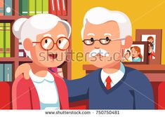 Embracing grandfather and grandmother family couple portrait illustration. Elder silver haired people. Two old persons man & woman at home interior. Flat style vector isolated on apartment background.