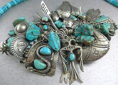 348g-52-Pawn-Charms-Navajo-Zuni-Thunderbird-Snake-Turquoise-Charm-Bracelet