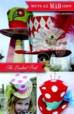 Mad Hatter hats for alice & wonderland party.