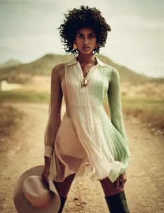 Photography by Boo George. Styled by: Sara Fernandez Castro. Hair: David Harborow. Makeup: Florrie White. Model: Imaan Hammam.