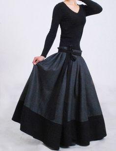Dark grey wool skirt wrap skirt maxi skirt patchwork skirt