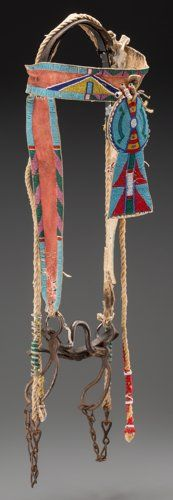 American Indian Art:Beadwork and Quillwork, A Crow Beaded Hide Headstall...