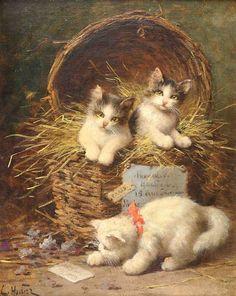 Kittens in a Basket - Cross stitch pattern pdf format
