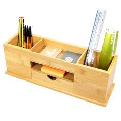 Organizador de Papelería para Escritorio Bambú 5 Compartimentos (Organizadores y Dispensadores de Escritorio de Madera): Amazon.es: Oficina y papelería