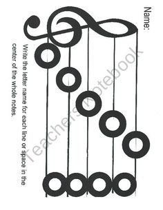 FREE Treble Clef Notes practice page from Miss Barkers Musical Materials on TeachersNotebook.com (1 page)