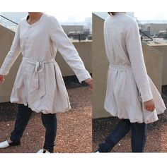 Flower Bud Linen Long Coat with Belt/ 9 COLORS by Ramies on Etsy