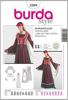 Burda B2509 - Cartamodello per realizzare vestito da castellana, taglie varie…