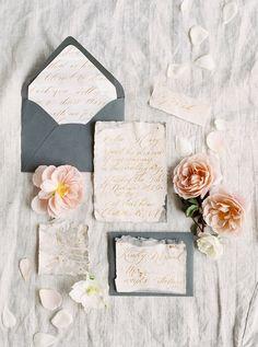 Elegant Gols Script Wedding Invitations | Shannon Moffit Photography
