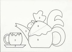 applique rooster teapot & cup