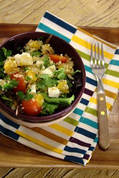 Salada de bulgur com abóbora assada e queijo de cabra