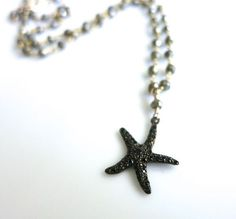 Pave Black Spinel Starfish necklace spinel by LaurenBlakeCreations