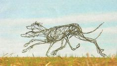 Barbed wire and steel Field Sports, Game Birds and Game Animals sculpture by artist jo burchell titled: 'Racing Lurchers' £3,667