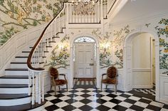 This large staircase and foyer is able to handle a heavily floral wallpaper pattern on the walls thanks to the checkerboard floor and dark stairs House Design, Interior And Exterior, House, Interior, Home, Foyer Decorating, Beautiful Homes, House Interior, Interior Design