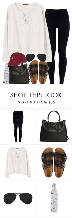 """Untitled #294"" by valerienwashington ❤ liked on Polyvore featuring NIKE, Prada, MANGO, Birkenstock, Ray-Ban and S'well"