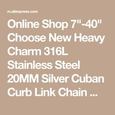 "Online Shop 7""-40"" Choose New Heavy Charm 316L Stainless Steel 20MM Silver Cuban Curb Link Chain Mens Boys Necklace or Bracelet Cool Jewelry 