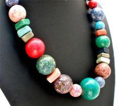 "Vintage Turquoise Rhodochrosite Lapis Necklace 21"" Long Bead Charoite Pyrite | eBay"