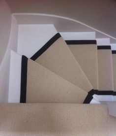 100% wool Lawrence Pearl stair runner with black taping