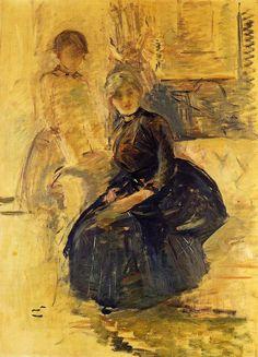 1887 Autorretrato con aceite Julie (estudio) en la lona