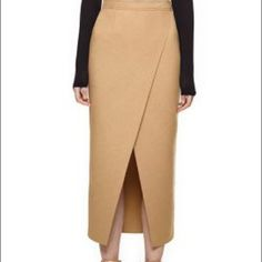 Camel Asymmetric Skirt 85%Polyester+15%Wool; Non-stretchable material; Back zipper;Hand wash cold.  Waist:27.17inch,Hip:37.4inch,Length:31.1inch                     -not listed Brand- Zara Skirts Midi