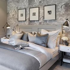 Sophie Paterson Interiors - a stunning ensemble of greys, silver and white with just touches of black. Luxury Homes Interior, Home Interior Design, Interior Decorating, Silver And Grey Bedroom, Beautiful Bedrooms, Romantic Bedrooms, Home Decor Bedroom, Bedroom Ideas, My New Room