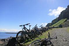 Beautiful bikes, beautiful sunshine and beautiful scenery on the Isle of Skye, Scotland!  #mountainbiking #bikes #scotland #adventure