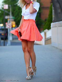 Coral skirt + white blouse with print heels! Love!