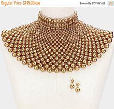Bridal jewelry set Bridal choker necklace earrings by GlamDuchess