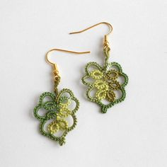 Autumn Green Tatted Earrings - FREE SHIPPING via Etsy