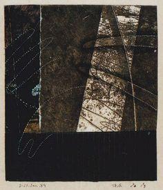 """takahikohayashi: """" D-23.Jan.1989 17x14.7cm mixed media/ etching print, painting, collage 林孝彦 HAYASHI Takahiko 1989 """""""