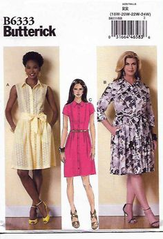 Butterick+Sewing+Pattern+6333+Womens+Plus+Size+18W-24W+Easy+Shirtwaist+Button+Front+Dress