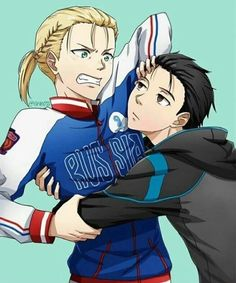 Katsuki Yuuri, Yuri/Yurio Plisetsky, hugging, angry, pushing, funny, cute; Yuri!!! on Ice