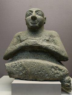 Statue of Kurlil. Limestone, Early Dynastic period, ca. 2500 BC. Found next to the Temple of Ninhursag in Tell al-'Ubaid, southern Iraq.